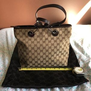 Authentic Gucci GG Canvas Tote with Dustbag